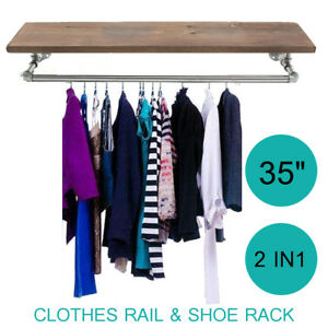 35 Industrial Wall Pipe Laundry Clothes Rail Shoes Wood Rack Storage Display