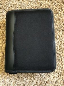 Franklin Covey Black Zipper Nylon Compact Organizer Planner Binder 6 Ring 1