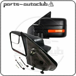Black 2004 14 Ford F 150 Power Heated Signal Puddle Light Side Tow Mirrors Pair