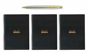 Rhodia Meeting Book Made In France 3 count Bundle With A Plexon Pen New