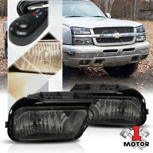 Smoke Tinted Fog Light Bumper Lamps W Switch Harness For 03 06 Chevy Silverado
