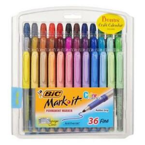 Bic Mark It Permanent Marker Set Assorted Colors Fine Tip 36 Pack School Supply