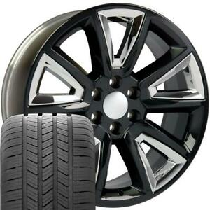 20x8 5 Black Chrome Tahoe Style Wheels Tires Set Of 4 Rims Fit Chevrolet Cp