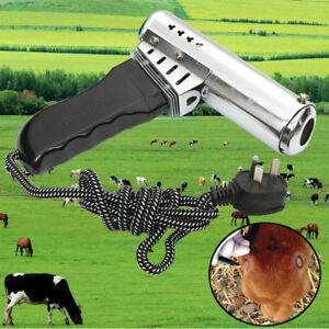 Electric Fast Heating Dehorner Cattle Calf Lamb Goat Iron Bloodless Tip Portable