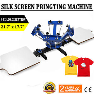 4 Color 2 Station Silk Screen Printing Machine Press Equipment T shirt New