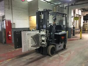 2012 Nissan 4000 Lb Electric Forklift With Appliance Clamp Tipping Clamp