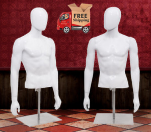 Plastic Half Body Male Mannequin W Base Head Turns Height Adjusts Store Display