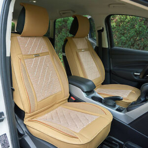 Universal Pu Leather Car Seat Cover Cushion Back Support Waist Massage Beige Us