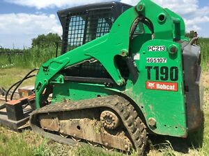 2012 Bobcat T190 Enclosed Rops W 12 Wide Tracks Skid Steer Loader
