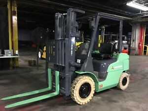 2014 Mitsubishi Pneumatic Forklift 5000 Lb With Triple Mast And Side Shift