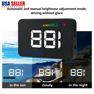 Universal A500 3 5 Inch Car Hud Head Up Display Rpm Speed Warning Obd2 Interface