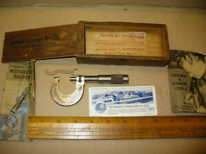 Vintage Brown Sharpe Mfg Co No 12 Micrometer 0 1 Dovetailed Box Papers
