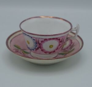 C 1850 Staffordshire Lusterware Spatterware Pink Cup And Saucer Set