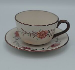 C 1860 Staffordshire Lusterware Spatterware Pink Copper Teacup And Saucer Set