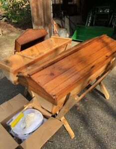 Two Western Red Cedar Top Bar Honey Bee Hives And Beekeeping Set up