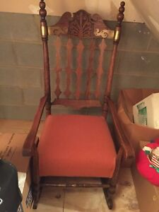 Antique Solid Oak Rocking Chair With Upholstered Seat