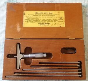 Vintage Lufkin 513 Micrometer Depth Gauge 0 6 Set W box Nice Shape Usa