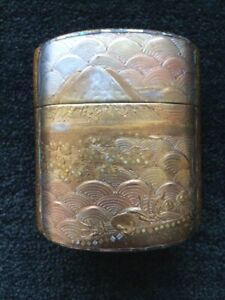 Japanese Gold Lacquer Inro Mt Fuji Meiji Period Stunning