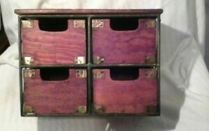 Wood And Metal 4 Drawers Storage Bin