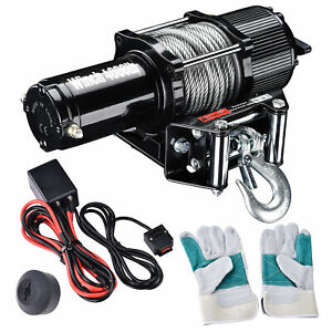 4000lb Electric Recovery Winch 12v Atv Towing Truck Trailer Remote Switch 1 24hp