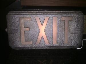 1940 S Vintage Antique Exit Sign Metal glass Hollywood Electric Number Co Rare
