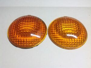 Amber Pair Guide Truck Bus D 68 Vintage Turn Lamp Lens Early Light 4 1 4