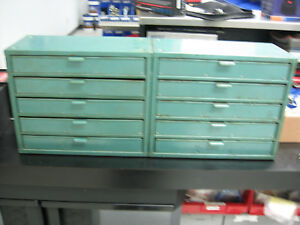 Set Of 2 Stackable 5 Drawer Machinist Cabinet Steel Tool Small Parts Storage