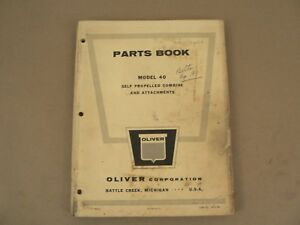 Oliver Tractors Model 40 Combine Service Parts Book Catalog Manual 1962 Vintage