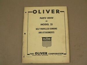 Oliver Model 25 Self Propelled Combine Service Parts Book Catalog Manual 1959