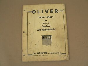 Oliver Model 18 Combine Attachments Service Parts Book Catalog Manual 1955