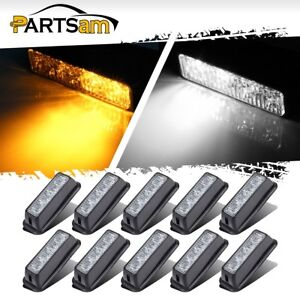 10 Amber white 6led Car Truck Emergency Beacon Warning Hazard Flash Strobe Light