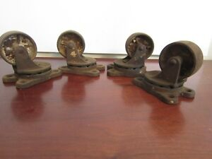 Set 4 Antique Cast Iron Wheels Heavy Industrial Casters 837 Matching Swivel Cart