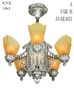 Art Deco Slip Shade Chandelier With Cut Glass Center Panels Ant 981