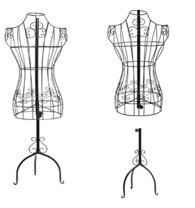 Metal Dress Form Mannequin Female Wire Stand Display Clothing Decor Home Black