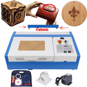 Lcd Display 40w Co2 Laser Engraving Engraver Cutter Machine 4 Movable Wheels