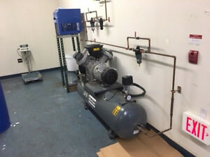 Atlas Copco Lf5 10cv Oil Free Tank Mounted Air Compressor With Quincy Air Dryer