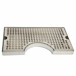 12 x7 Inch Stainless Steel Cutout Beer Tower Surface Mount Drip Tray No Drain