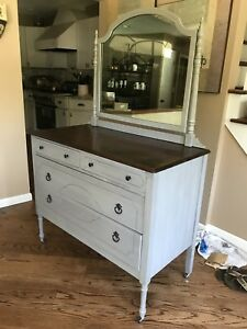 Antique Dresser With Mirror Refinished