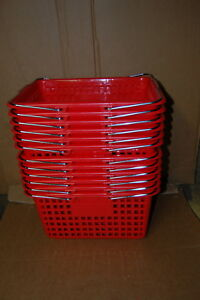 Shopping Baskets Plastic Chrome Handle 12 Red New Free Shipping