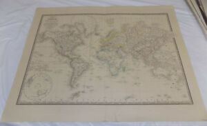 1843 Antique Map The World