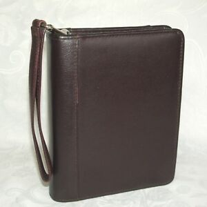 Franklin Compact Brown Leather Binder Planner Zipper Wrist Carry Strap 1 5 Ring