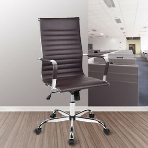 Ergonomic Office Task Chair Leather Seat High Back Executive Computer Desk Brown