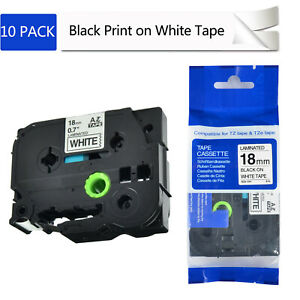 10pk Black On White Label Tape 18mm For Brother P touch Pt 300 Tz 241 Tze241
