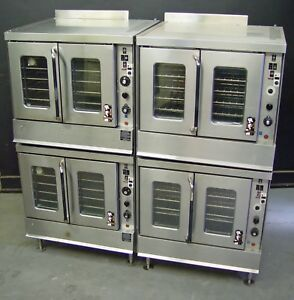 Two Montague 2 115 Series Full Size Double Stack Natural Gas Convection Ovens