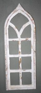 Wooden Antique Style Church Window Frame Primitive Wood Gothic 33 1 2 Shabby