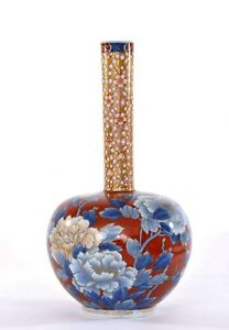 1910 S Japanese Fukagawa Porcelain Long Neck Vase With Flowers Birds Mk 32 Cm