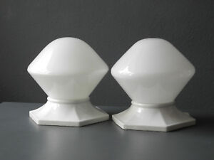 Pair Of Rare Xl Mid Century Modern Glass Ceramic Ceiling Lamps Wagenfeld Era
