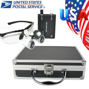 Dental Surgical Binocular Loupes 3 5x 420mm Glasses Led Head Light Aluminum Case