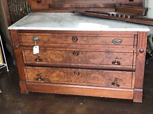 Eastlake Marble Top Dresser With Mirror