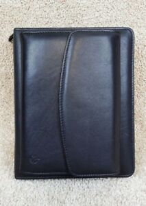 Franklin Covey Black Full Grain Nappa Leather 1 5 6 Ring Planner organizer